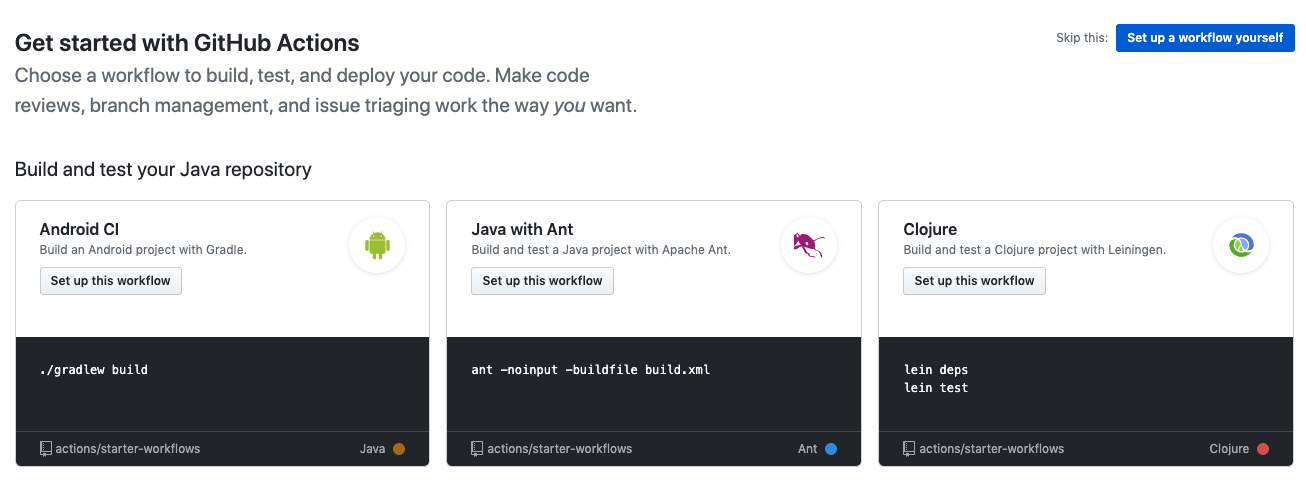 github actions workflows list